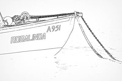 Photograph - Sketch Of The Fishing Boat Of Aruba Rosalinda by David Letts