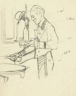 Sketch Of Waiter Pouring Wine Art Print by Carl Oscar August Erickson