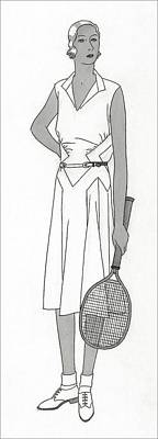Sketch Of Woman In Tennis Dress Print by Polly Tigue Francis