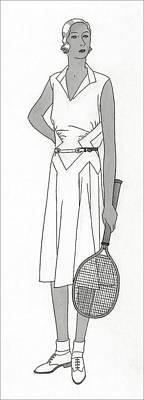 Sketch Of Woman In Tennis Dress Art Print