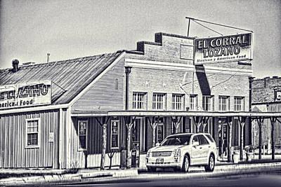 Sketch Print Of Texas Restuarant Original by Linda Phelps