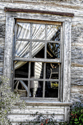 Cabin Window Digital Art - Sketched Vintage Window by Linda Phelps