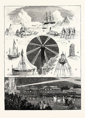 Lighthouse Drawing - Sketches At The Royal Naval Exhibition 1. H.m.s by English School