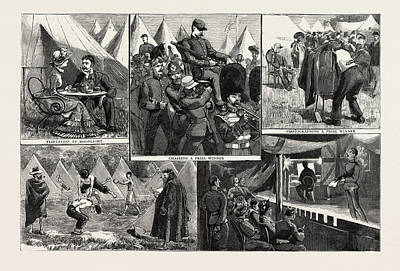 Sketches At The Volunteer Camp, Wimbledon, Engraving 1884 Art Print