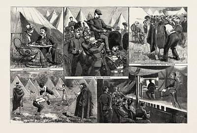 Sketches At The Volunteer Camp, Wimbledon, Engraving 1884 Art Print