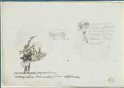 Sketches For A Bonnet And Accessories Art Print by Anonymous, French, 18th century