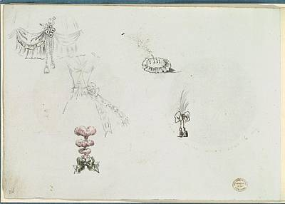 Sketches For Details Of A Dress Art Print by Anonymous, French, 18th century