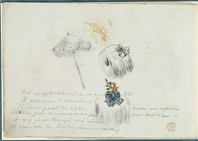 Sketches For Two Muffs And A Parasol Art Print by Anonymous, French, 18th century
