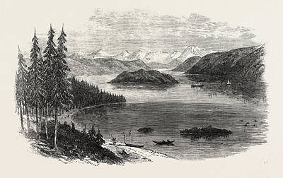 British Columbia Drawing - Sketches From British Columbia Harrison Lake by English School