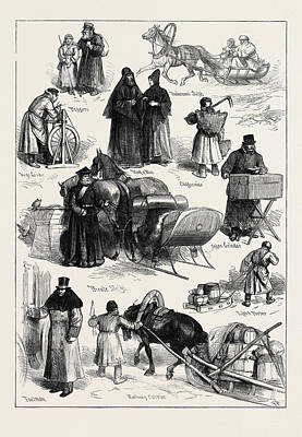 Sketches In St. Petersburg Beggars Tradesmans Sleigh Monk Art Print