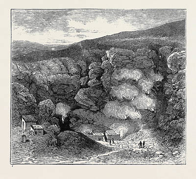 Lipari Drawing - Sketches In The Lipari Islands Interior Of Great Crater by English School