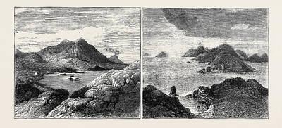 Lipari Drawing - Sketches In The Lipari Islands Left Image Vulcanello by English School