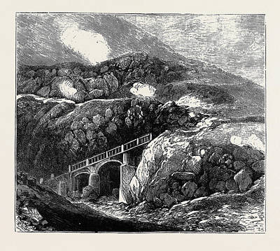 Lipari Drawing - Sketches In The Lipari Islands Newly Constructed Bridge by English School
