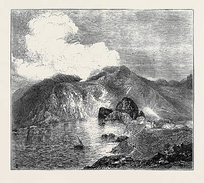 Lipari Drawing - Sketches In The Lipari Islands View Of Great Crater by English School