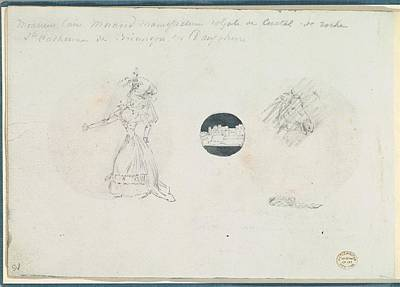 Sketches Of A Woman In A Corseted Gown Art Print by Anonymous, French, 18th century