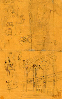 Bunting Drawing - Sketches Of Details Of Bunting For Lincolns Funeral, 1865 by Quint Lox
