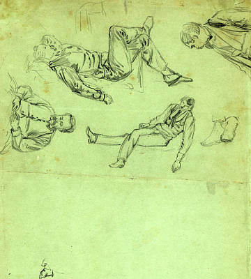 Sketches Of Figures In Repose, 1865, Drawing, 1862-1865 Art Print