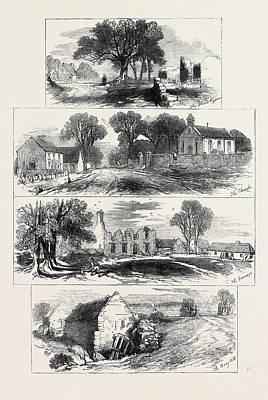 Auburn Drawing - Sketches Of Goldsmiths Deserted Village Lishoy Or Auburn by English School