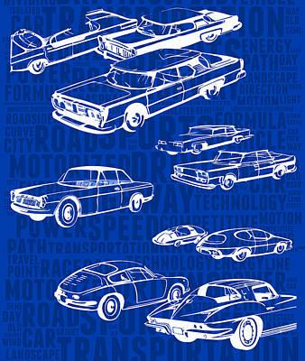 Long Street Digital Art - Sketches Of Retro Cars by Daniel Gladkii