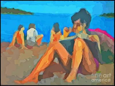 Sketching At The Beach Art Print