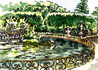 Old Map Painting - Sketching Italy Florence Boboli Gardens Of Pitti Palace by Irina Sztukowski