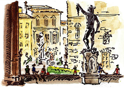 Travel Sketch Painting - Sketching Italy Florence Palazzo Vecchio Piazza by Irina Sztukowski