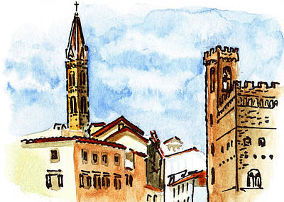 Old Map Painting - Sketching Italy Florence Towers by Irina Sztukowski
