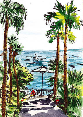 Old Map Painting - Sketching Italy Palm Trees Of Sorrento by Irina Sztukowski