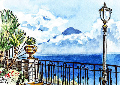Sketching Italy Sorrento View On Volcano Vesuvius Art Print by Irina Sztukowski