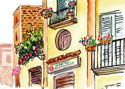 Old Map Painting - Sketching Italy Streets Of Sorrento by Irina Sztukowski