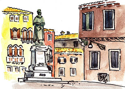 Old Map Painting - Sketching Italy Venetian Piazza by Irina Sztukowski
