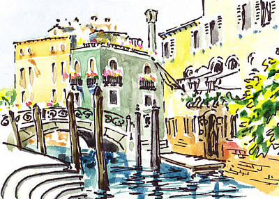 Children Book Painting - Sketching Italy Venice Canale by Irina Sztukowski