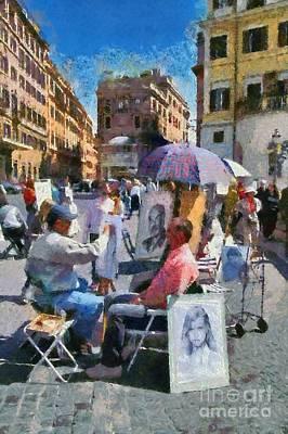 Painting - Sketching Portraits Outside Trinita Dei Monti At Piazza Di Spagna by George Atsametakis