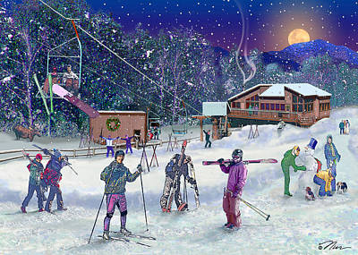 Digital Art - Ski Area Campton Mountain by Nancy Griswold