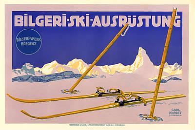 Flyers Drawing - Ski Austria 1910 by Mountain Dreams