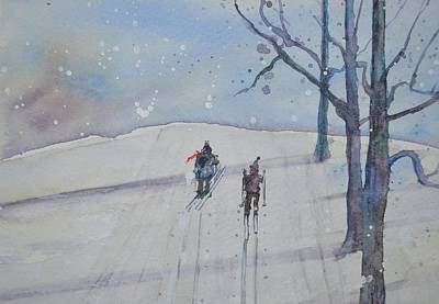 Cross-country Skiing Painting - Ski Buddies by Kellie Chasse