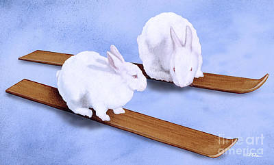 Ski Painting - Ski Bunnies... by Will Bullas
