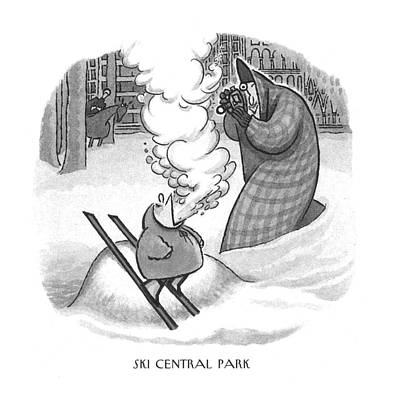 Ski Drawing - Ski Central Park by Arnold Roth