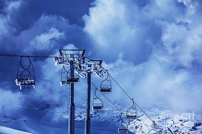 Christmas Holiday Scenery Photograph - Ski Chairlift by Anna Om