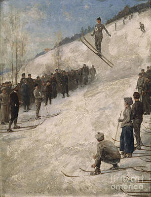 Ski Painting - Ski Competition In Fjelkenhill by Axel Ender