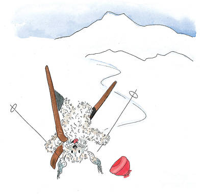 Ski Fail Art Print by Leah Wiedemer