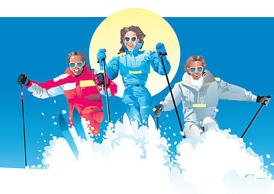 Digital Art - Ski Fun Art by Robert Korhonen