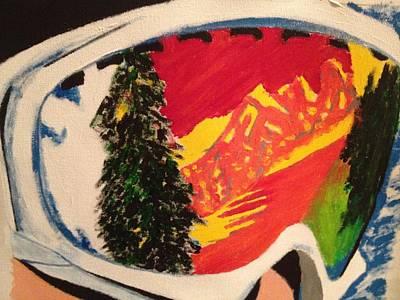 Ski Run Painting - Ski Goggles by D Freeman