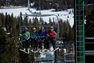 Chairlift Photograph - Ski Instructor With His Class Having by Trevor Clark