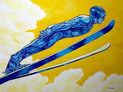 Ski Painting - Ski Jumper Airborne by Derrick Higgins