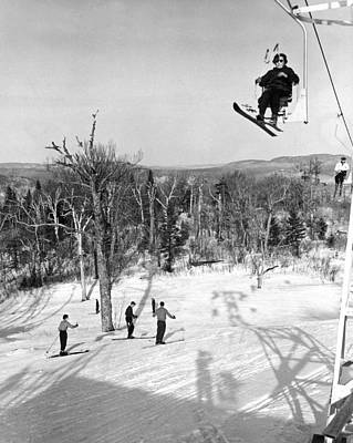 Photograph - Ski Lift In  Canada by Underwood Archives