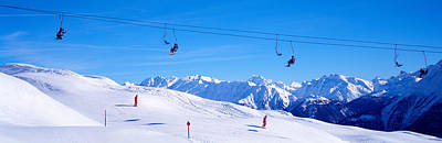 Skiing Action Photograph - Ski Lift In Mountains Switzerland by Panoramic Images