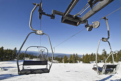 Sky Photograph - Ski Lifts At Mount Hood In Oreon by David Gn