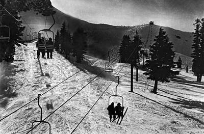 Lift Photograph - Ski Lifts At Squaw Valley In California by Underwood Archives