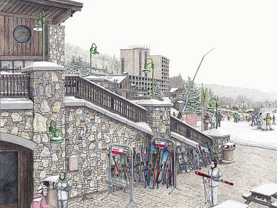 Painting - Ski School At Seven Springs Mountain Resort by Albert Puskaric